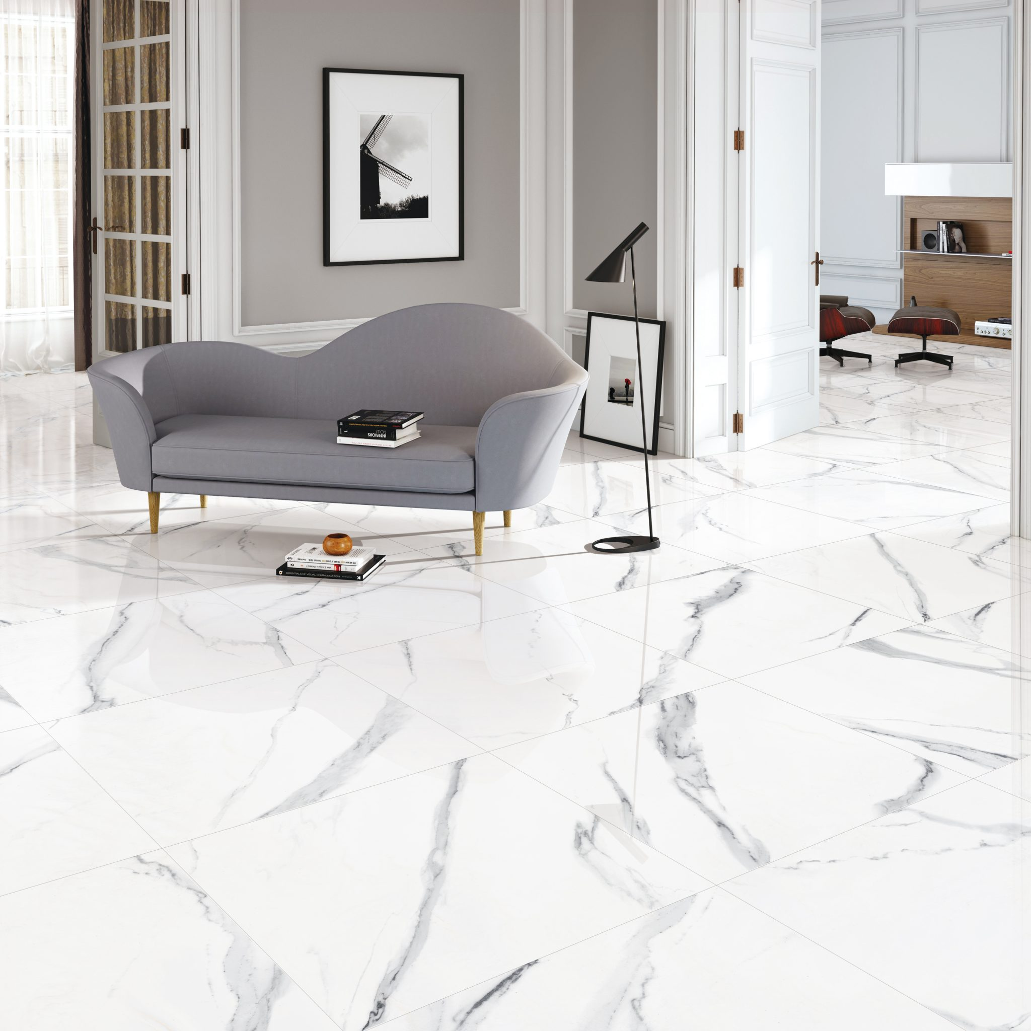 Glossy Marble Carrara Look Porcelain Tiles 600mm X 600mm New Wave Flooring